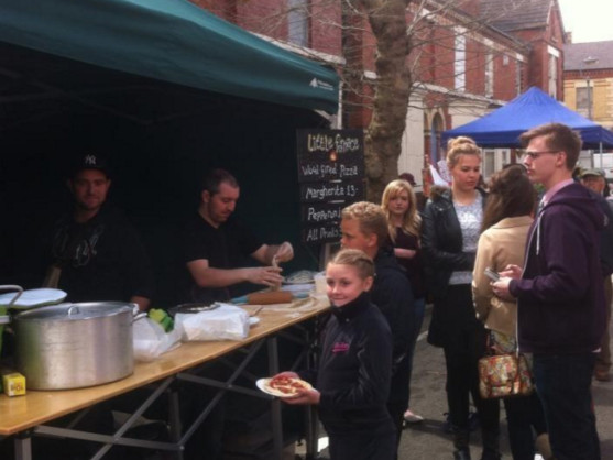 Our first street food market stall.